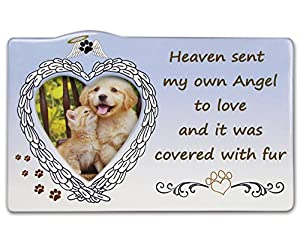 Pet Memorial Picture Frame - Heart Shaped Photo Opening with Loving Saying about the Loss of a Pet - Dog Sympathy Frame - Cat Sympathy Frame
