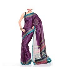 Aksana Collections Magenta Printed Bengal Cotton Sarees