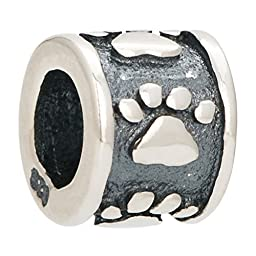 Dog Paw Print 925 Sterling Silver Animals Charm Bead Fits Pandora Charms