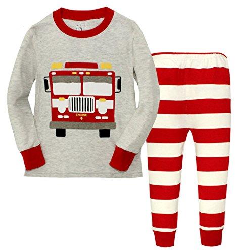 "Phoebe Cat ""Tour Bus"" Boys' Pajamas Sleepwear 2-Pcs Cotton T-Shirt + Pants Set (3T, Grey)"
