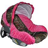 Custom Infant Car Seat Cover- Sew Precious Baby- Camo & Hot Pink Minky!