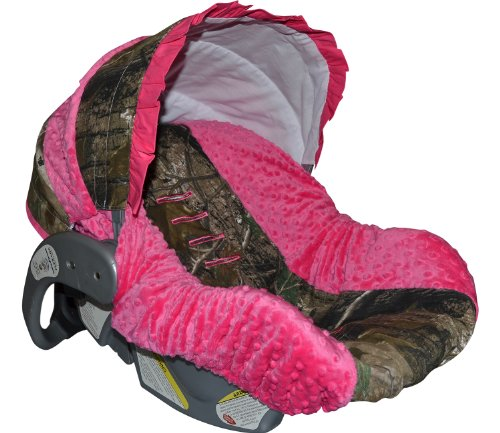 Custom Infant Car Seat Cover- Sew Precious Baby- Camo & Hot Pink Minky!