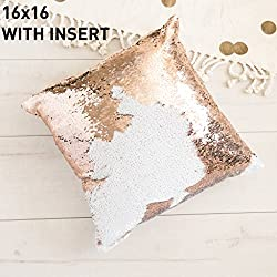 16x16 Mermaid Pillow with Insert Champagne gold with Flip sequin Throw Pillow Mermaid Magic Glitter Reversible Color Changing Gifts For her Decorative Pillow Shams Dorm Room Décor For Sofa Comfy