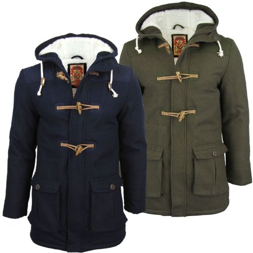 Mens Tokyo Laundry 'Ashmere' Wool Mix Melton Winter Hoodie Jacket/ Coat Fleece Lined - Navy [Small]