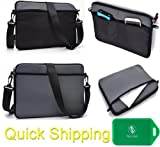 UNIVERSAL MESSENGER/SLEEVE BAG WITH ACCESSORIES POCKET AND SHOULDER STRAP FITS- Nabi XD Tablet IN Grey/Black