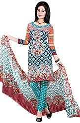 Manmauj Women's Cotton Unstitched Dress Material (MM10069DBLU, Blue)