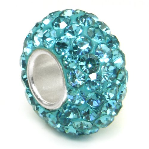 Swaroski Aquamarine Light Blue Crystal Ball Bead Sterling Silver Charm Fits Pandora Chamilia Biagi Trollbeads European Bracelet