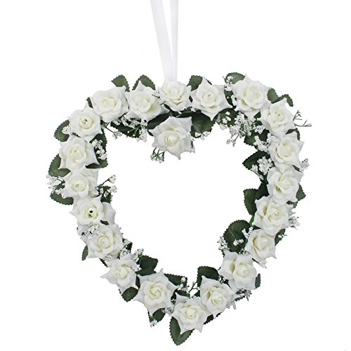 LingStar Heart-Shaped Rose Door Wall Hanging Wreaths Wedding Festival Decoration (White) 10PCS