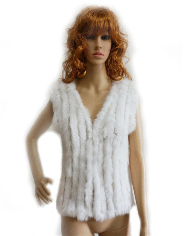 YR Lover Damen Echt Kanichen Pelz Weste Winter Warm Mantel günstig kaufen