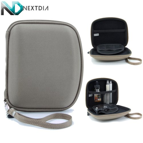 Portable Travel Vape Carrying Case Suitable For Portable E-Hookah (Compact Tan Nylon Semi-Hard Shell) Includes Removable/Adjustable Hand Strap + Nextdia Velcro Tie