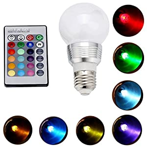 HDE Multi-Setting Energy Efficient 5 Watt Color Changing Frosted E27 LED Lamp Light Bulb with Wireless Remote