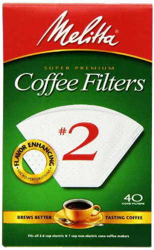 Melitta Cone Coffee Filters, White, No. 2, 40-Count Filters (Pack of 12)