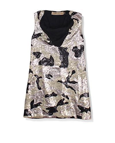 Manila Grace Kleid schwarz/platinum