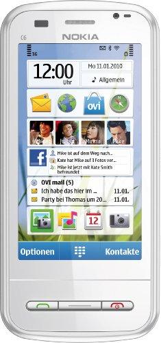 Nokia C6-00 Smartphone (8.1 cm (3.2 Zoll) Display, QWERTZ-Tastatur, Touchscreen, 5 Megapixel Kamera) weiß