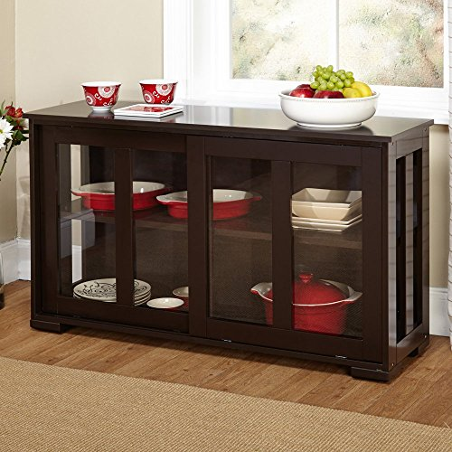 Target Marketing Systems Pacific Stackable Cabinet with Glass Door - Espresso (Tempered Glass Cabinet Doors compare prices)