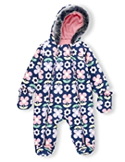 Hooded Faux Fur Trim Floral Snowsuit with Mittens