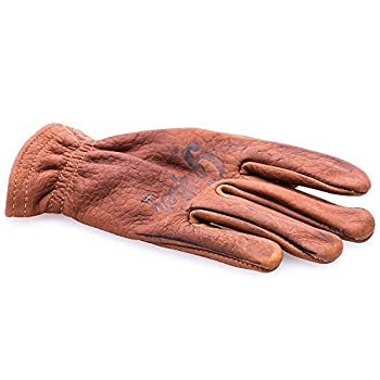 "Grifter ""Scoundrel"" Gloves - Motorcycle Riding Gloves Made in USA Bison Leather (Medium)"