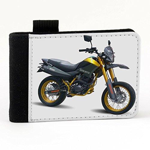 Moto 10023, Motocicletta, Nero Polyester Piccolo Cartella Congressi block notes Tasca Taccuino con Fronte di Sublimazione e alta qualità Design Colorato.Dimensioni A7-131x93mm.