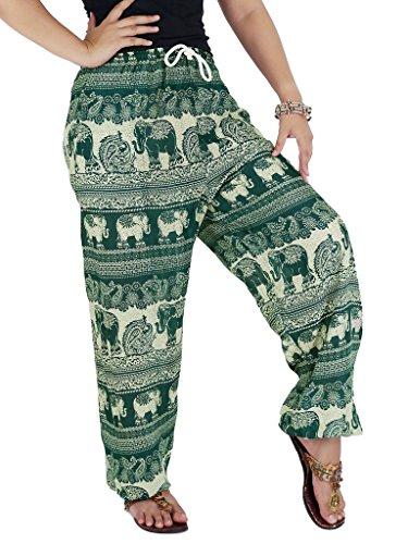 AuthenticAsia-Elefante Collezione Super morbido, Jinny Harem pantaloni pantaloni JCH-02_Green Taglia unica