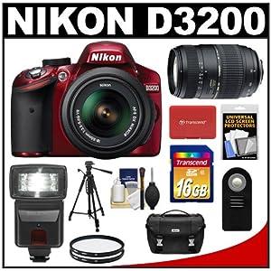 Nikon D3200 Digital SLR Camera & 18-55mm G VR DX AF-S Zoom Lens (Red) with 70-300mm Lens + 16GB Card + Flash + Case + Filters + Remote + Tripod + Accessory Kit
