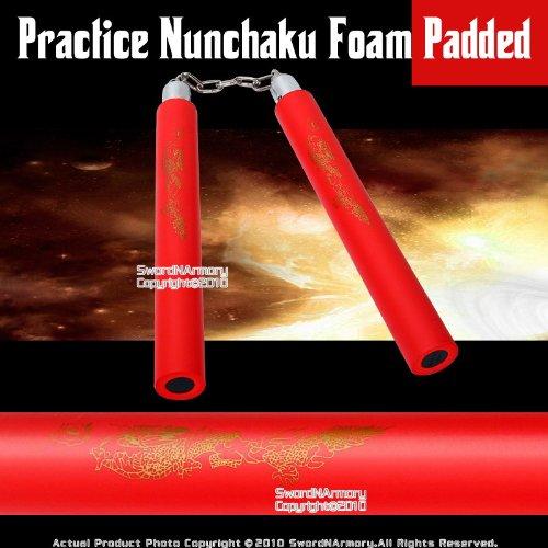 Red Dragon Foam Padded Nunchaku w/ Steel Swivel Chain