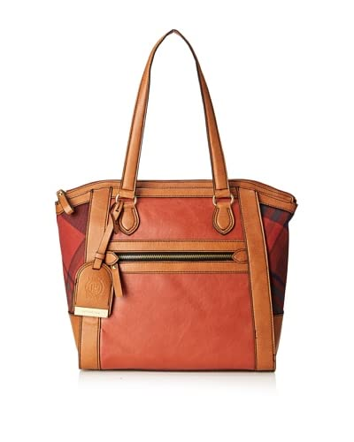 London Fog Women's Milton Tote Shoulder Bag  [Brick Plaid]