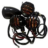 バイク バードゲージ ブレット ウインカー 左右 4個 セット 汎用 12V 黒 ライト色 橙