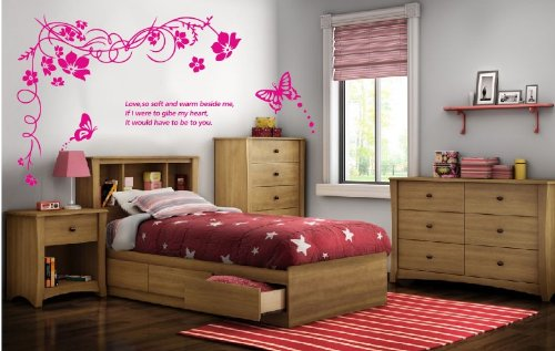Apexshell (Tm) Large Flower Vine And Butterfly For Love Quote Decor Art Stickers Removable Decorate Decal Home Decor For Home, Living Room, For Bedroom (Pink) front-382189