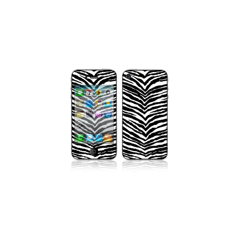 Black Zebra Skin Decorative Skin Cover Decal Sticker for Apple iPhone 4 16GB 32GB (AT&T) ONLY