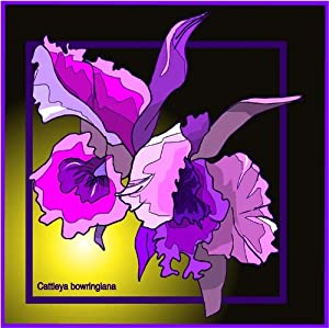 Purple Cattleya Orchids - Etched Vinyl Stained Glass Film, Static Cling Window Decal