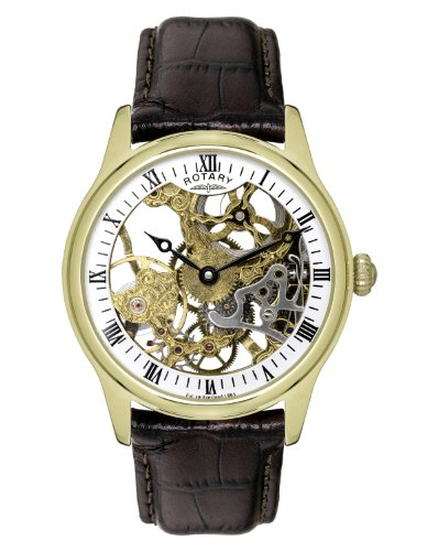 Rotary Men's Mechanical Watch with Gold Dial Analogue Display and Black Leather Strap GS02520/03
