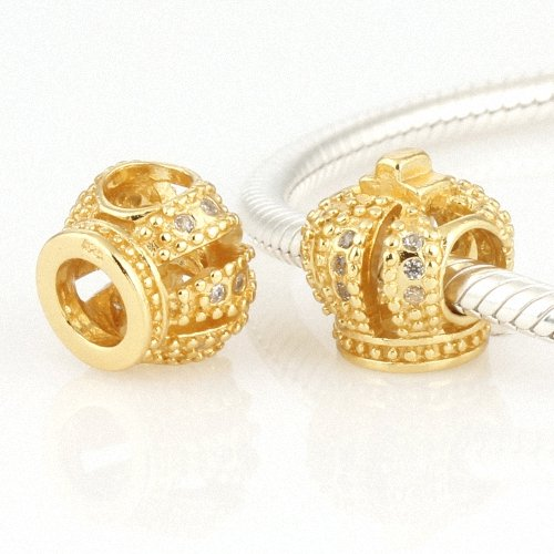 Taotaohas-(1Pc) 22K Gold Plated 100% Solid Sterling 925 Silver Charm Beads, [ Name: Royal Crown, Stone Color: Clear ], With Crystal Czech Rhinestone, Fit European Bracelets Necklaces Chains, Troll, Biagi Glass Beads