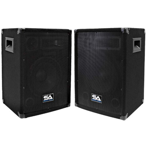 """Seismic Audio - Pair Of 10"""" Pa Dj Pro Audio Band Speakers 200 Watts - Use As A Main Or A Monitor - Karaoke"""