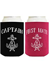 Funny Beer Coolie Black Captain and Magenta First Mate 2 Pack Can Coolies
