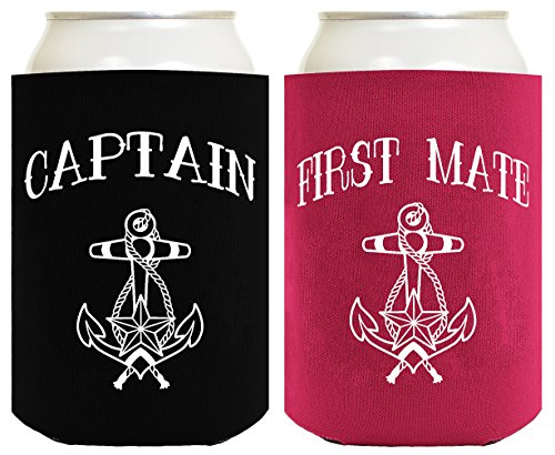 Funny Can Coolie Black Captain and Magenta First Mate Nautical Sailing 2 Pack Can Coolies