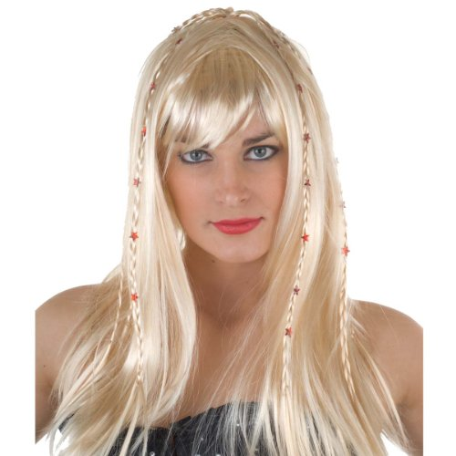 Low-Cost Hippy Girl Wig - Blonde or Black available.