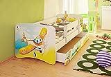 Best For Kids cama infantil con protección anti Caídas con cajón y con 10cm Colchón TÜV certificado Super Selección 3Tamaños Diversos diseños Flugzeug Talla:70x160