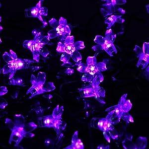 50 led flower christmas tree lights solar powered string fairy light
