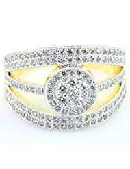 SUPERSHINE FASHIONABLE GOLD PLATED RING JEWELRY STUDDED WITH AMERICAN DIAMONDS 11211