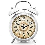 ツインベル常夜燈 目覚まし時計 バックライト付き 金属製時計 大音量 アナログ 連続秒針 音がしない 4インチ ホワイト