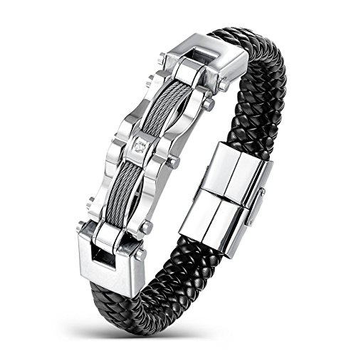 Areke Men's Stainless Steel Braided Leather Bracelets, CZ Punk Cuff Bracelet Bangle Silver 7.5-8.5 Inch Item Length 7.5 inch (Steel And Jelly Men compare prices)