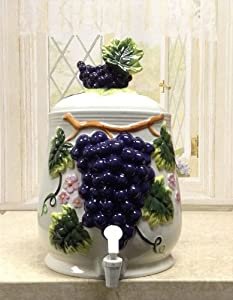 Tuscany Embossed 3-D Grapes ceramic water, Drink, Beverage Dispenser, 82835 by ACK