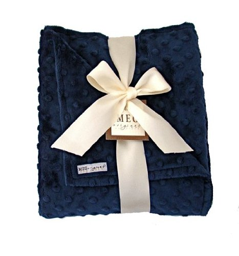MEG Original Minky Dot Baby Boy Blanket in Double-sided Navy Blue 335