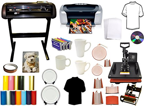 8 in 1 Combo Heat Press,1000g Vinyl Cutter Plotter,Printer,Refil,Puzzle Bundle (Vinyl Printer Cutter Combo compare prices)