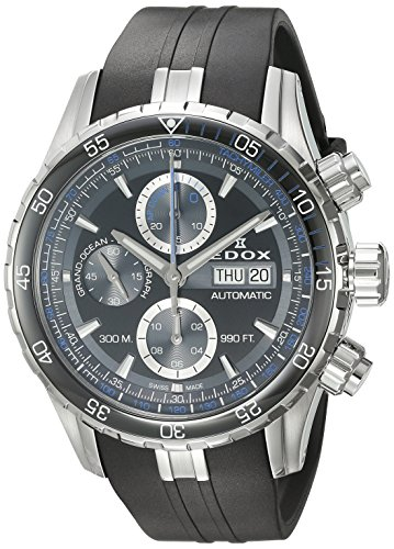 Edox-Mens-Grand-Ocean-Swiss-Automatic-Stainless-Steel-and-Rubber-Diving-Watch-ColorBlack-Model-01123-3BUCA-NBUN