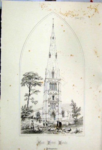 1855 Saint Peters Church Northamptonshire Wickes Print