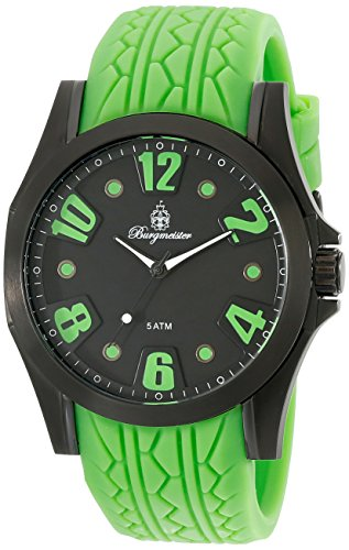 Burgmeister Men's Quartz Watch with Black Dial Analogue Display and Green Silicone Strap BM606-620C