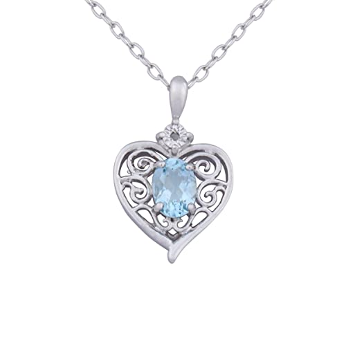 Sterling Silver Genuine Sky Blue Topaz and Diamond-Accent Heart Filigree Pendant Necklace, 18″ $17.99