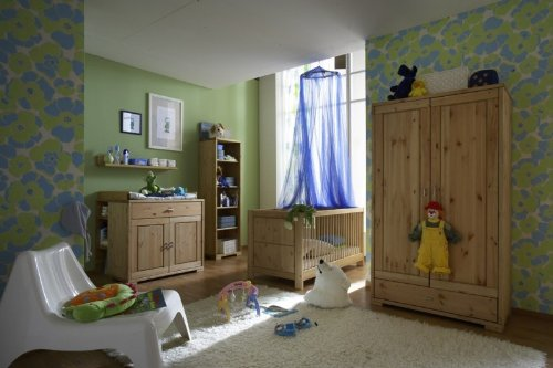 Babyzimmer Kinderzimmer komplett Babybett Schrank Wickelkommode Kiefer massiv, Farbe:weiß /prov. lackiert