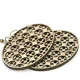 Oval Polka-Dot Mesh Wooden Earrings, Eco Friendly Handcrafted